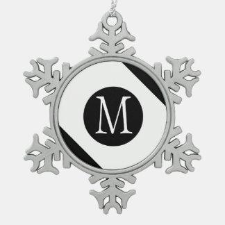 Modern, Simple & Stylish White & Black Monogram Snowflake Pewter Christmas Ornament