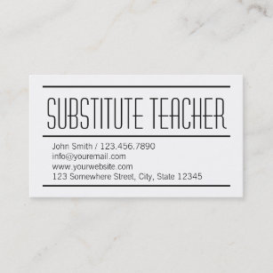 substitute teacher buisness cards