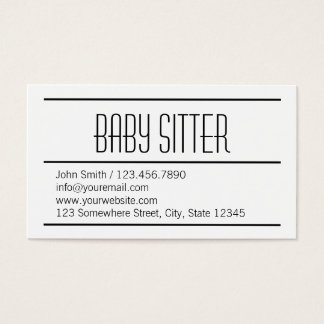 Modern Simple White Baby Sitter Business Card