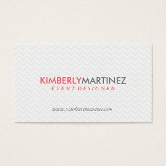 Modern Simple White Zigzag Chevron Pattern Business Card