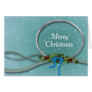 Modern Simplistic Silver and Blue Christmas Card