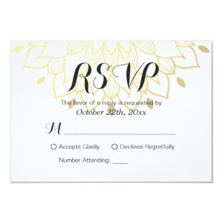 "Modern Simply White Gold Floral RSVP Reply Card 3.5"" X 5"" Invitation Card"