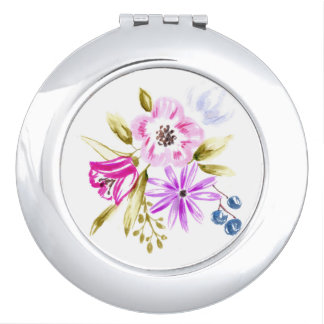 Modern Sketch Floral Bouquet Botanical Art Travel Mirror
