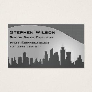 Modern Skyline Grey Business Card