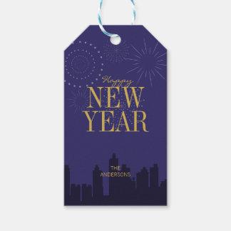 Modern Skyline Happy New Year's Gift Tag