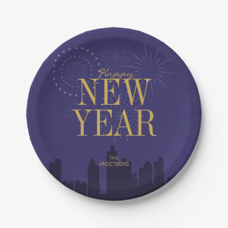 Modern Skyline Happy New Year's Paper Plates