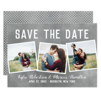 Modern Slate Snapshots Save The Date 3 Photo Card