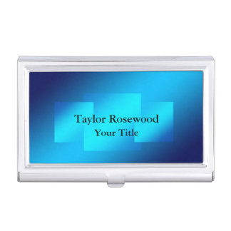 Modern Sleek Blue Squares Centered Business Card Holder