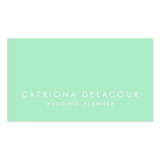 Modern Sleek Elegant Mint Green Business Card