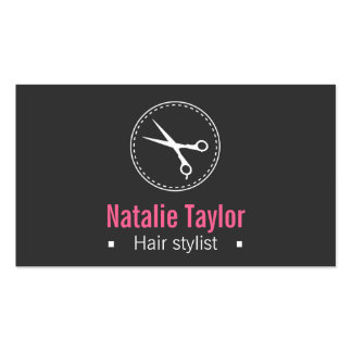 Modern, Sleek, Minimalist, Black, Hair Stylist Business Card