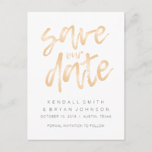 Modern Sleek Minimalist Rose Gold Save the Date Announcement Postcard
