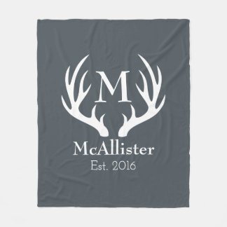 Modern Sleek White Deer Antlers - Personalized Fleece Blanket