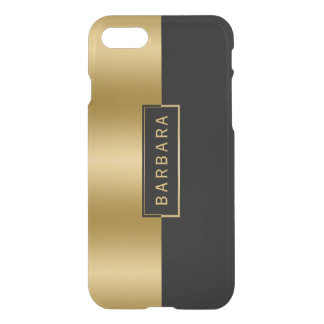 Modern Slick Gold & Black Geometric Design iPhone 8/7 Case