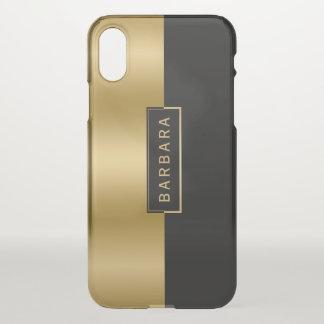 Modern Slick Gold & Black Geometric Design iPhone X Case