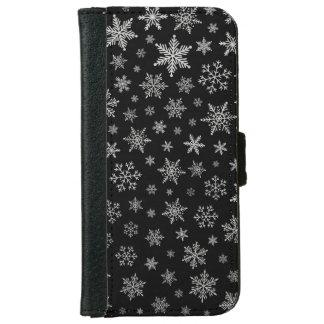 Modern Snowflake 2 -Black & Silver Grey- iPhone 6 Wallet Case