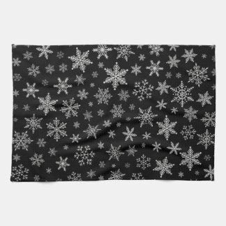 Modern Snowflake 2 -Black & Silver Grey- Kitchen Towel