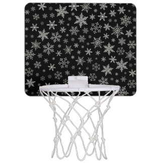 Modern Snowflake 2 -Black & Silver Grey- Mini Basketball Hoop