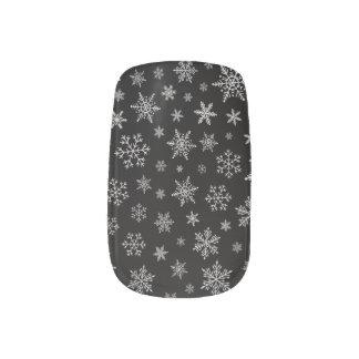 Modern Snowflake 2 -Black & Silver Grey- Minx Nail Art