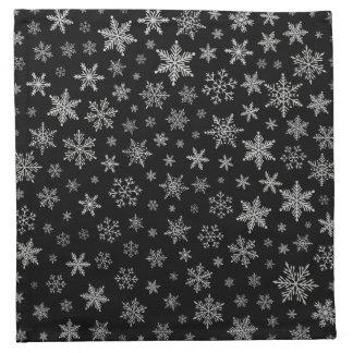 Modern Snowflake 2 -Black & Silver Grey- Napkin