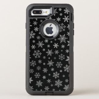 Modern Snowflake 2 -Black & Silver Grey- OtterBox Defender iPhone 8 Plus/7 Plus Case