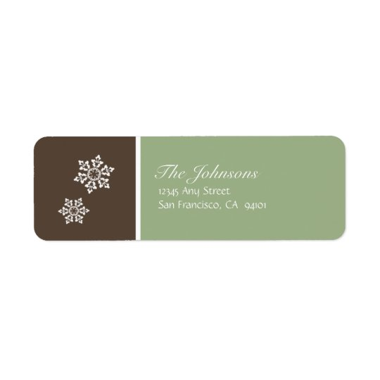 Modern Snowflake Holiday Labels (brown & green)