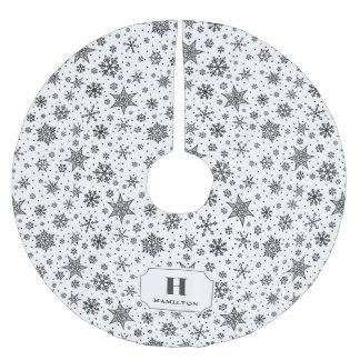 Modern Snowflake Pattern Monogram Brushed Polyester Tree Skirt