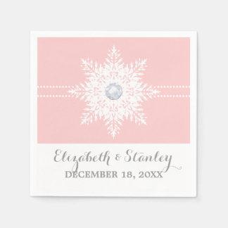 Modern snowflake pink, white winter wedding paper napkins