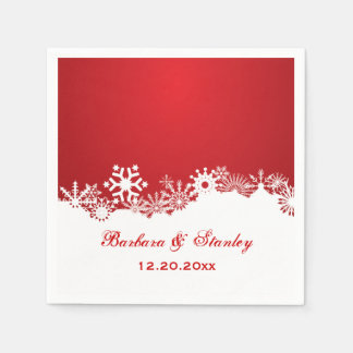 Modern Snowflake red white winter wedding Paper Napkin