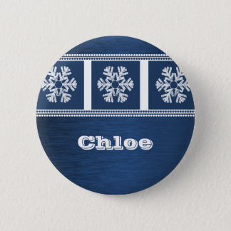 Modern Snowflakes Holiday Button, Royal Blue 2 Inch Round Button
