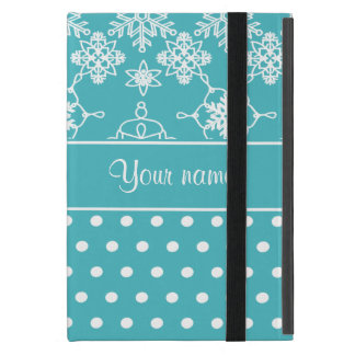 Modern Snowflakes Polka Dots Personalized Cover For iPad Mini