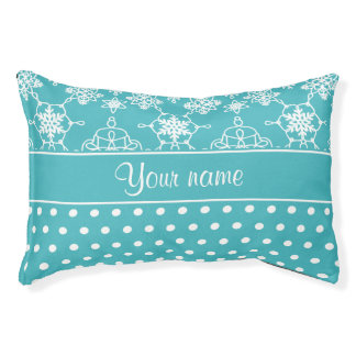 Modern Snowflakes Polka Dots Personalized Pet Bed