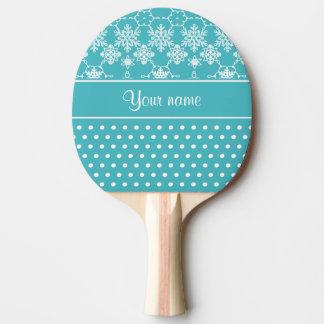 Modern Snowflakes Polka Dots Personalized Ping Pong Paddle