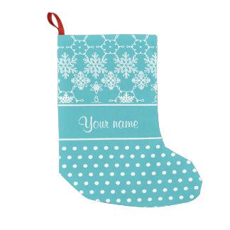 Modern Snowflakes Polka Dots Personalized Small Christmas Stocking