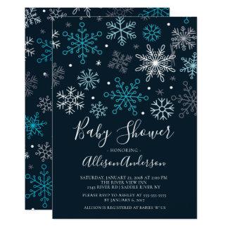 Modern Snowflakes Winter Baby Shower Invitation