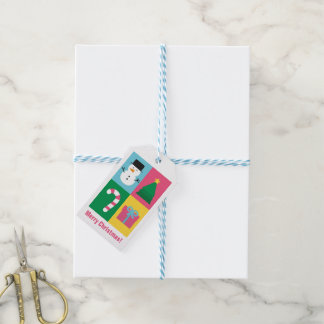 Modern Snowman Candy Cane Tree Christmas Gift Tags
