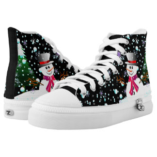 "Modern Snowman ""Merry Christmas"" party High Tops"