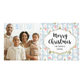 Modern Snowman Snow Christmas Picture Photo Card