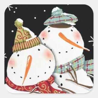 Modern Snowmen Smiles Square Sticker