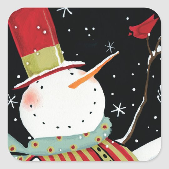Modern Snowmen Winter Home Square Sticker