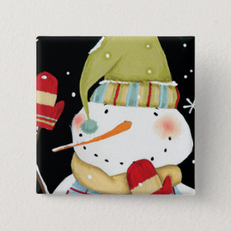 Modern Snowmen with Mittens 2 Inch Square Button