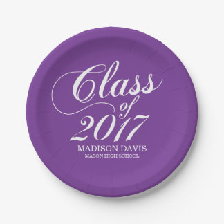 Modern Solid Purple | Graduation Paper Plate