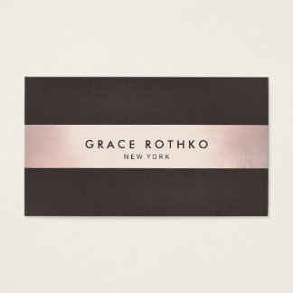 Modern Sophisticated Dark Brown Rose Gold Stripe Business Card