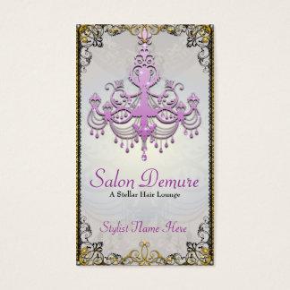 Modern Sophisticated Silver Purple Gold Salon Business Card