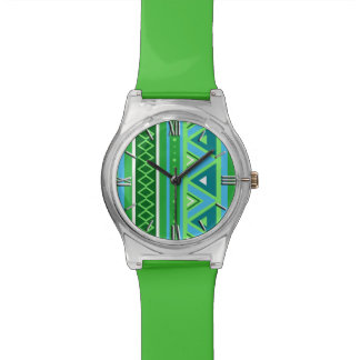 Modern Southwestern Geometric, Green and Aqua Wrist Watch