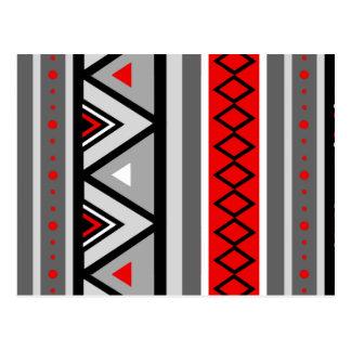 Modern Southwestern Geometric, Red & Gray / Grey Postcard