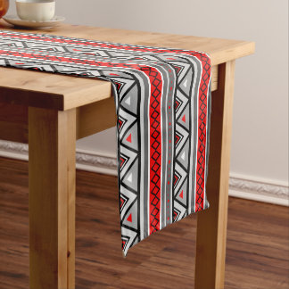 Modern Southwestern Geometric, Red & Gray / Grey Short Table Runner