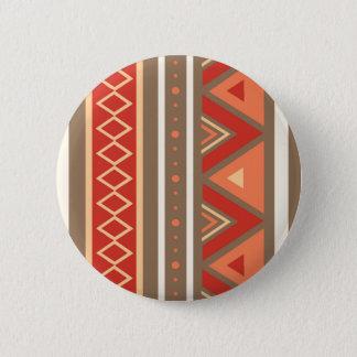 Modern Southwestern Geometric, Taupe & Orange 2 Inch Round Button