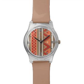 Modern Southwestern Geometric, Taupe & Orange Wristwatch