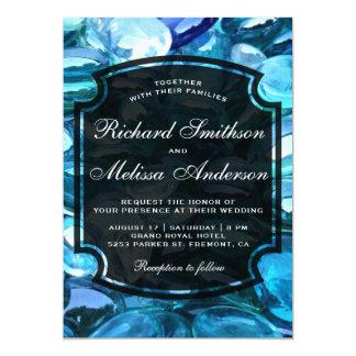 Modern Sparkling Blue Gemstones Wedding Invitation