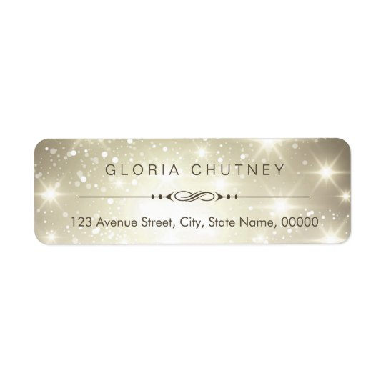 Modern Sparkling Bokeh Glitter Look Return Address Label